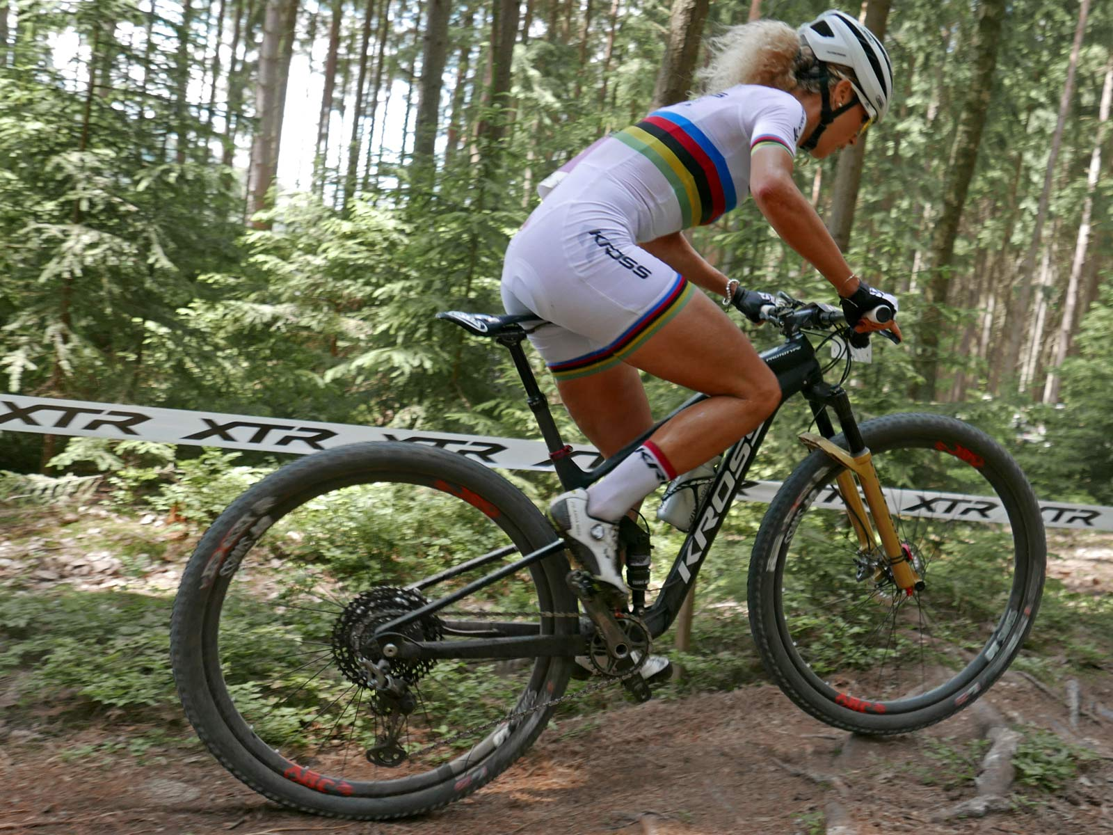 Prototype Kross Earth 100mm made in EU carbon full suspension 29er XC race mountain bike Jolanda Neff Nove Mesto rear